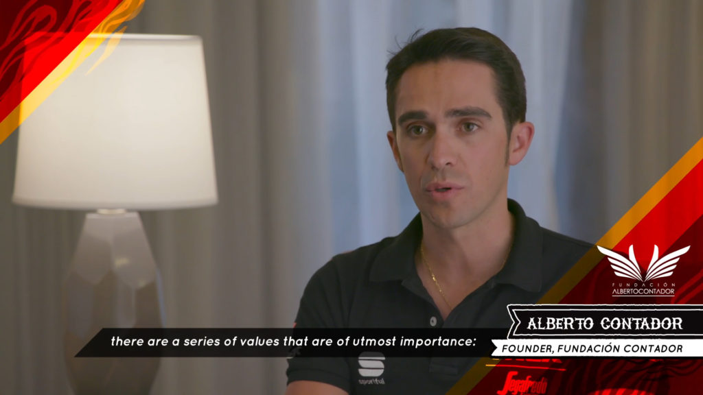 Alberto Contador interview with translated captions.